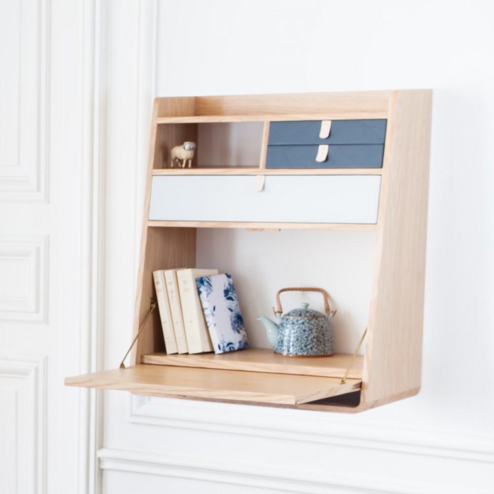 scrivania da muro gaston grigio ardesia e grigio chiaro. Black Bedroom Furniture Sets. Home Design Ideas