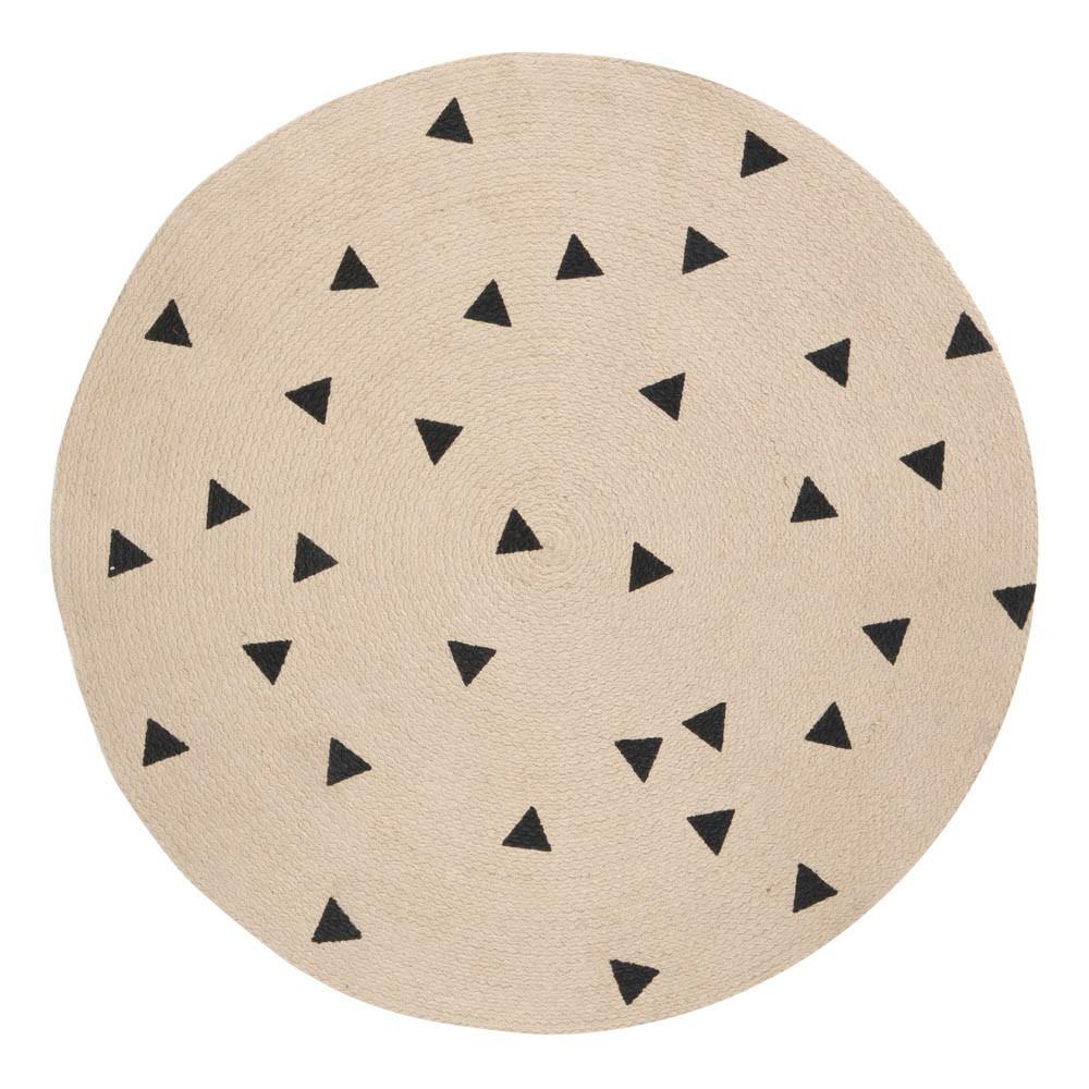Runder TeppichSchwarze Dreiecke 100 cm Ferm Living Design