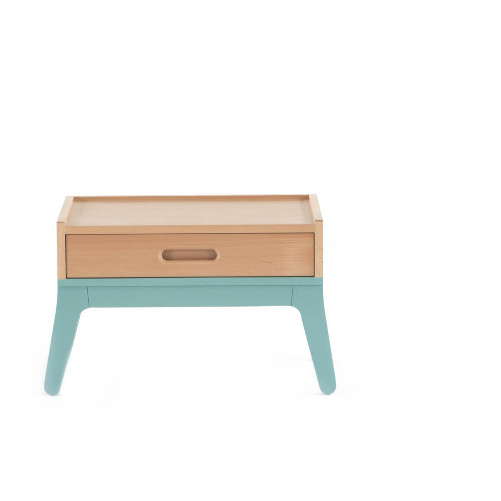 Table de nuit vert d 39 eau nobodinoz design enfant for Table de nuit enfant