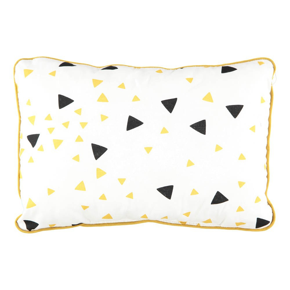 coussin jack triangles noir jaune 23x34 cm nobodinoz design. Black Bedroom Furniture Sets. Home Design Ideas