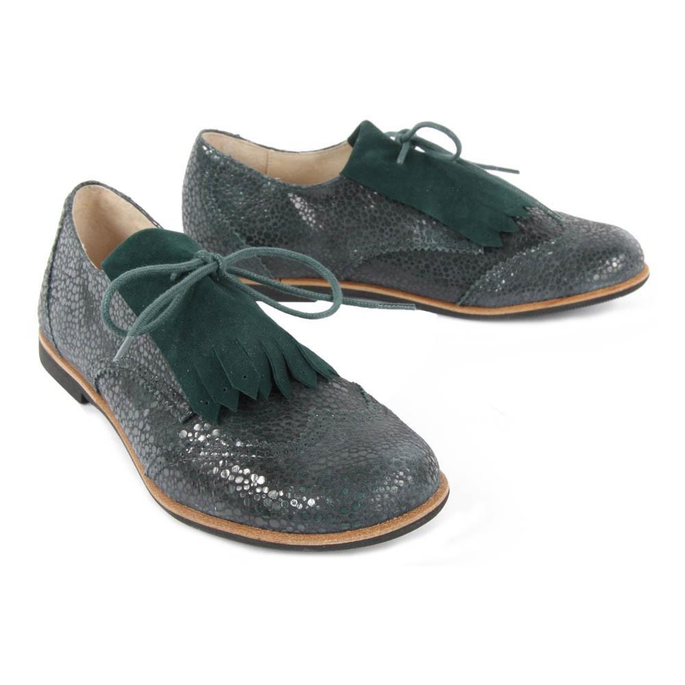 derbies franges fringe vert sapin manuela de juan chaussure. Black Bedroom Furniture Sets. Home Design Ideas