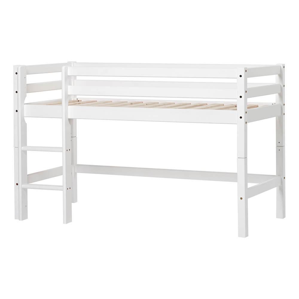 Cama alta bajo basic con escalera 70x160 blanco hoppekids for Cama bajo escalera