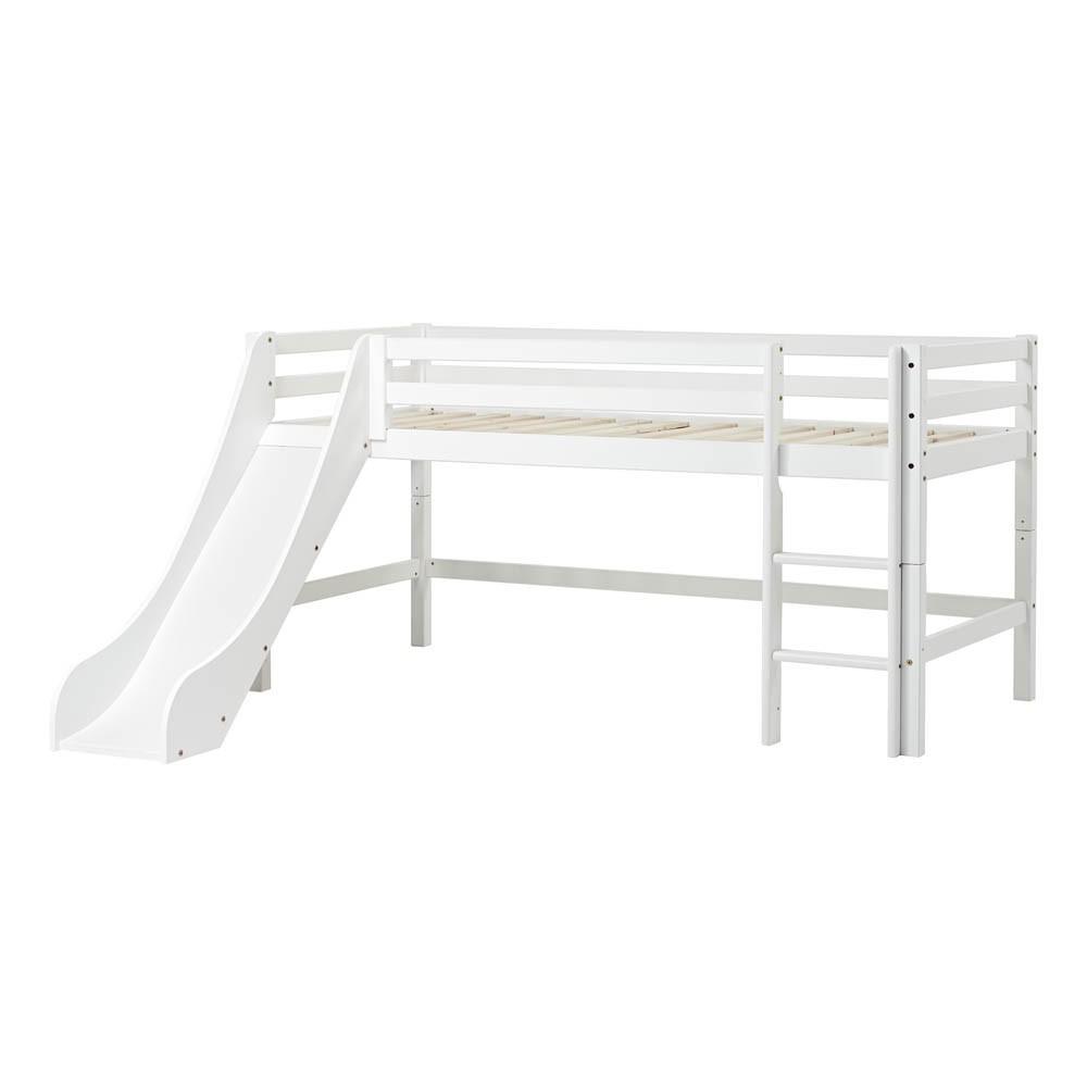 Cama alta bajo basic con escalera y tobog n 90x200 cm blanco for Cama bajo escalera