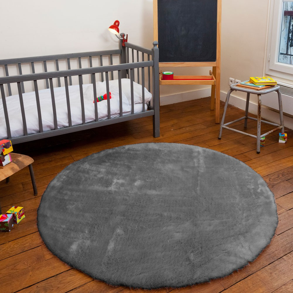tapis rond gris fonc gris fonc pilepoil design enfant. Black Bedroom Furniture Sets. Home Design Ideas