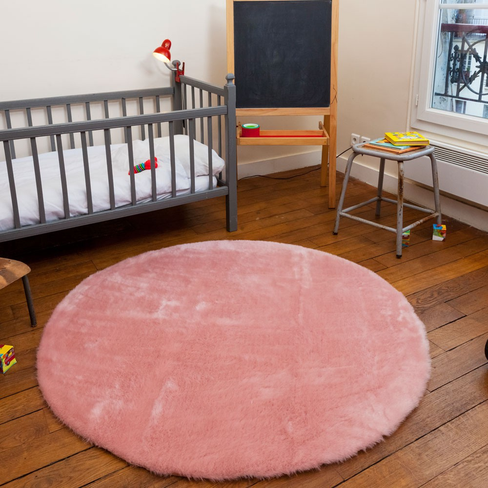 tapis rond rose nude vieux rose pilepoil design enfant. Black Bedroom Furniture Sets. Home Design Ideas