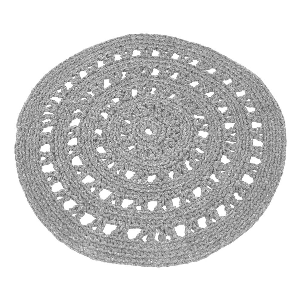 tapis rond crochet gris clair naco design enfant. Black Bedroom Furniture Sets. Home Design Ideas