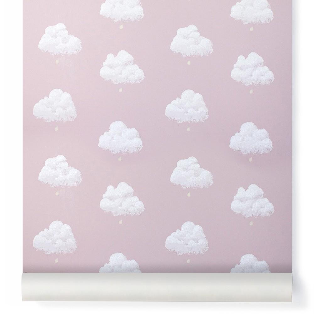papier peint nuage de coton rose santal bartsch design enfant. Black Bedroom Furniture Sets. Home Design Ideas
