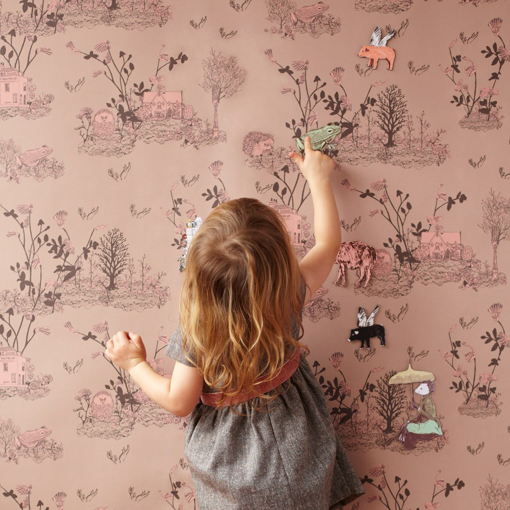 papier peint magn tique woodland et aimants rose poudre sian. Black Bedroom Furniture Sets. Home Design Ideas