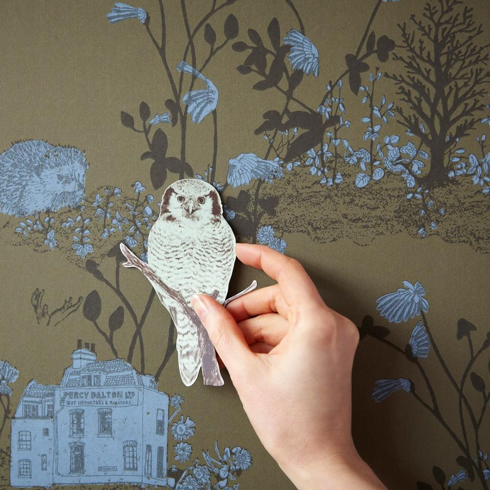 Papier peint magn tique woodland et aimants vert kaki sian - Papier peint vert kaki ...