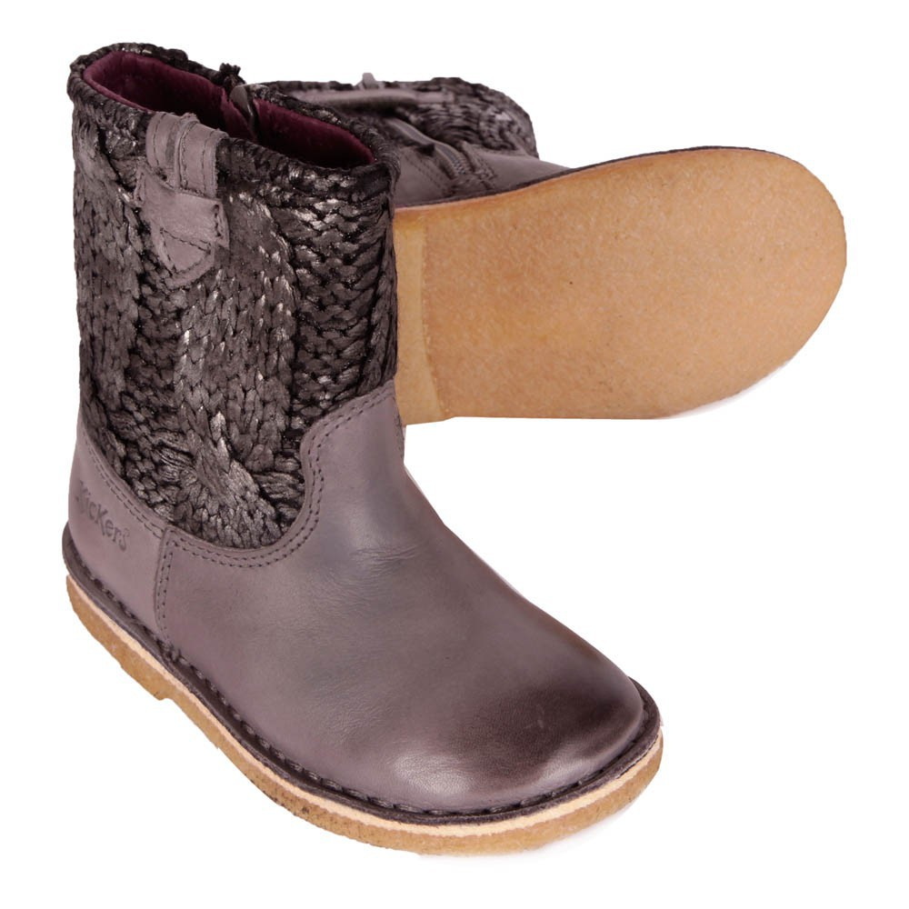 boots cuir maille zipp es cressona gris kickers chaussure enfant. Black Bedroom Furniture Sets. Home Design Ideas