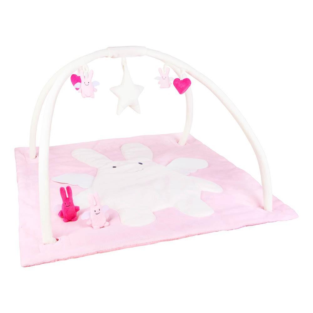 tapis d 39 veil musical carr ange lapin rose rose trousselier. Black Bedroom Furniture Sets. Home Design Ideas