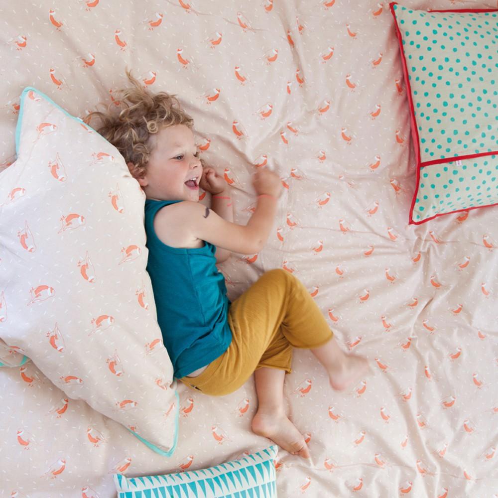 parure de lit oiseaux roses mimi 39 lou design enfant. Black Bedroom Furniture Sets. Home Design Ideas