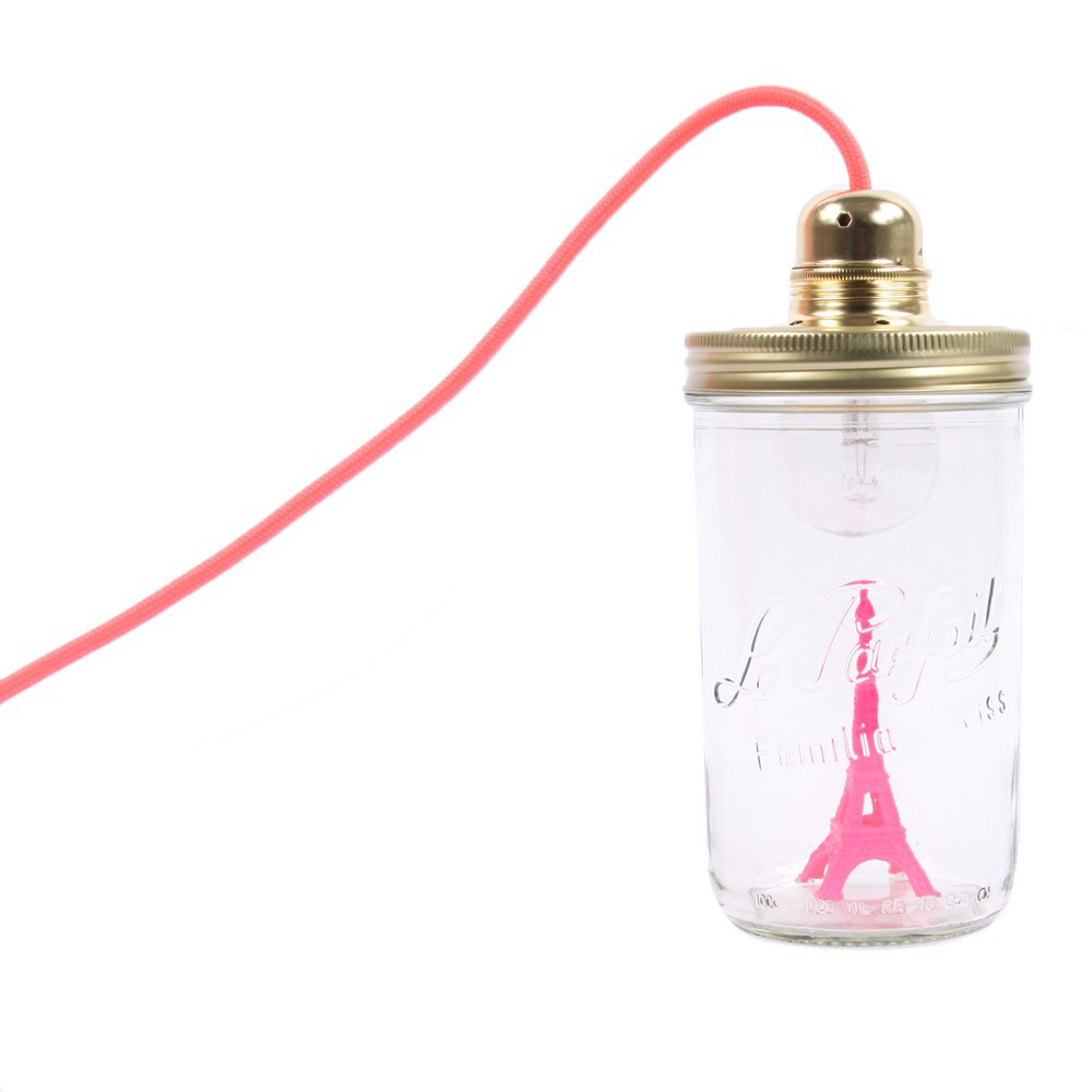 lampe baladeuse bocal tour eiffel rose fluo la t te dans le. Black Bedroom Furniture Sets. Home Design Ideas