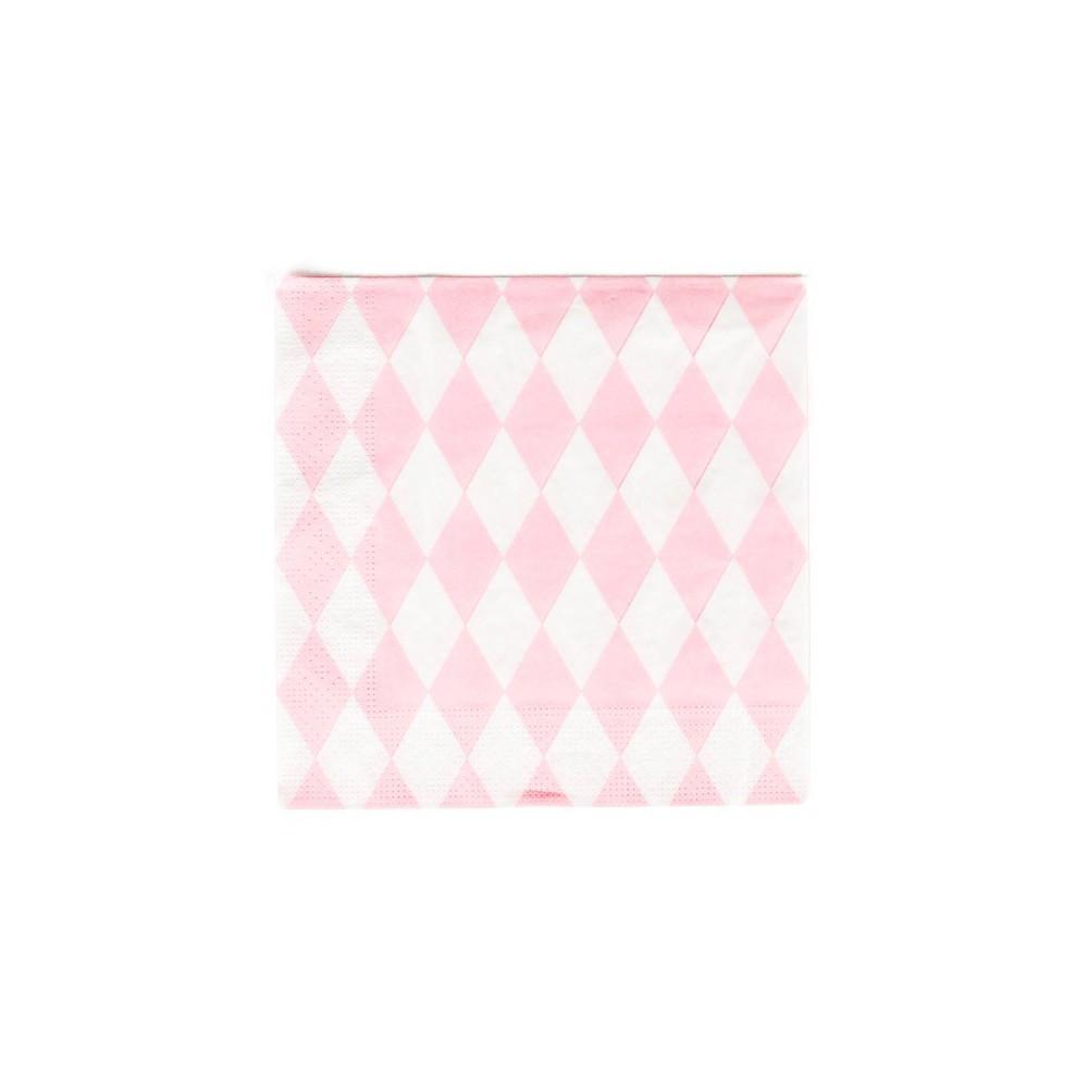 serviettes en papier losanges roses lot de 20 rose my little. Black Bedroom Furniture Sets. Home Design Ideas