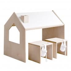 Lit junior cabane 80x160 cm naturel kutikai design enfant for Bureau 100x50