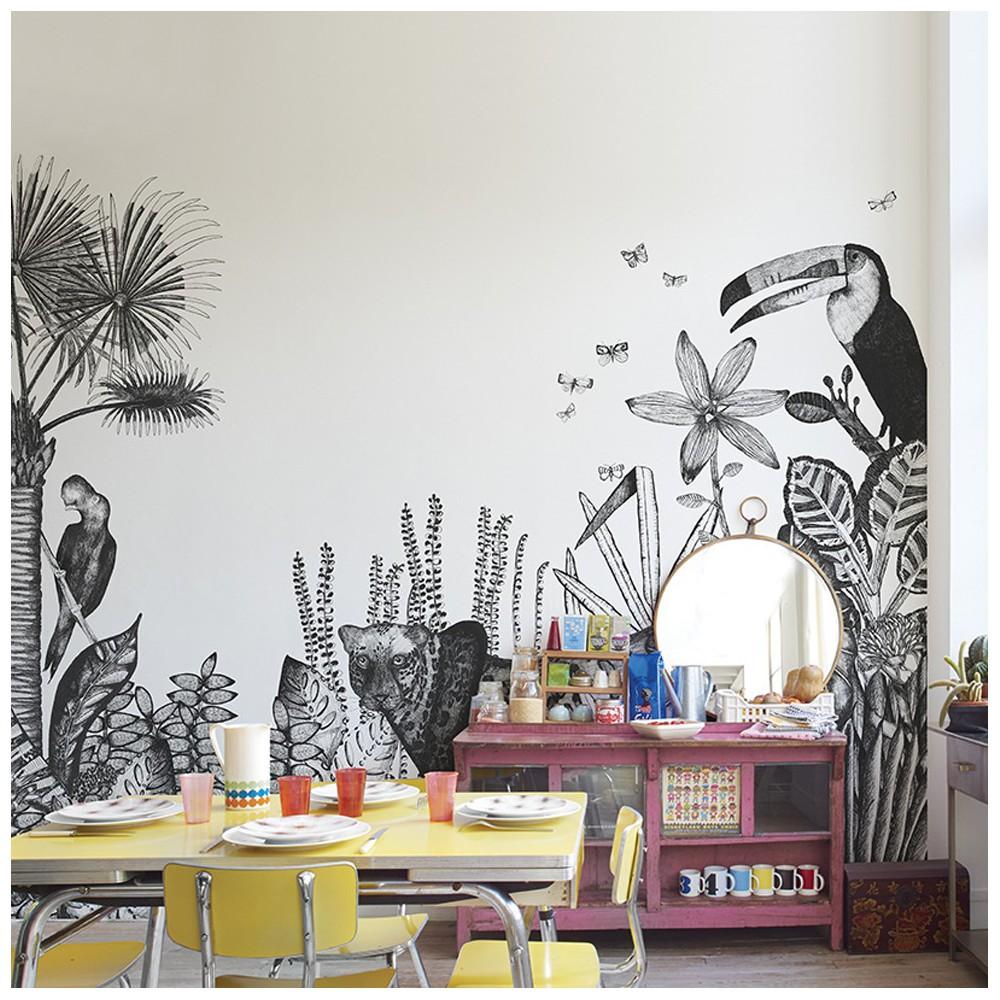 papier peint the wild 455x280 cm 5 l s blanc bien fait. Black Bedroom Furniture Sets. Home Design Ideas