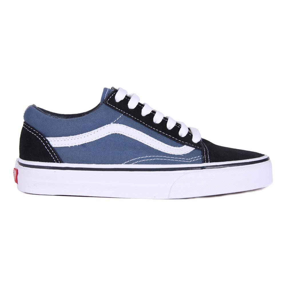 baskets lacets old skool bleu marine vans chaussure adolescent. Black Bedroom Furniture Sets. Home Design Ideas