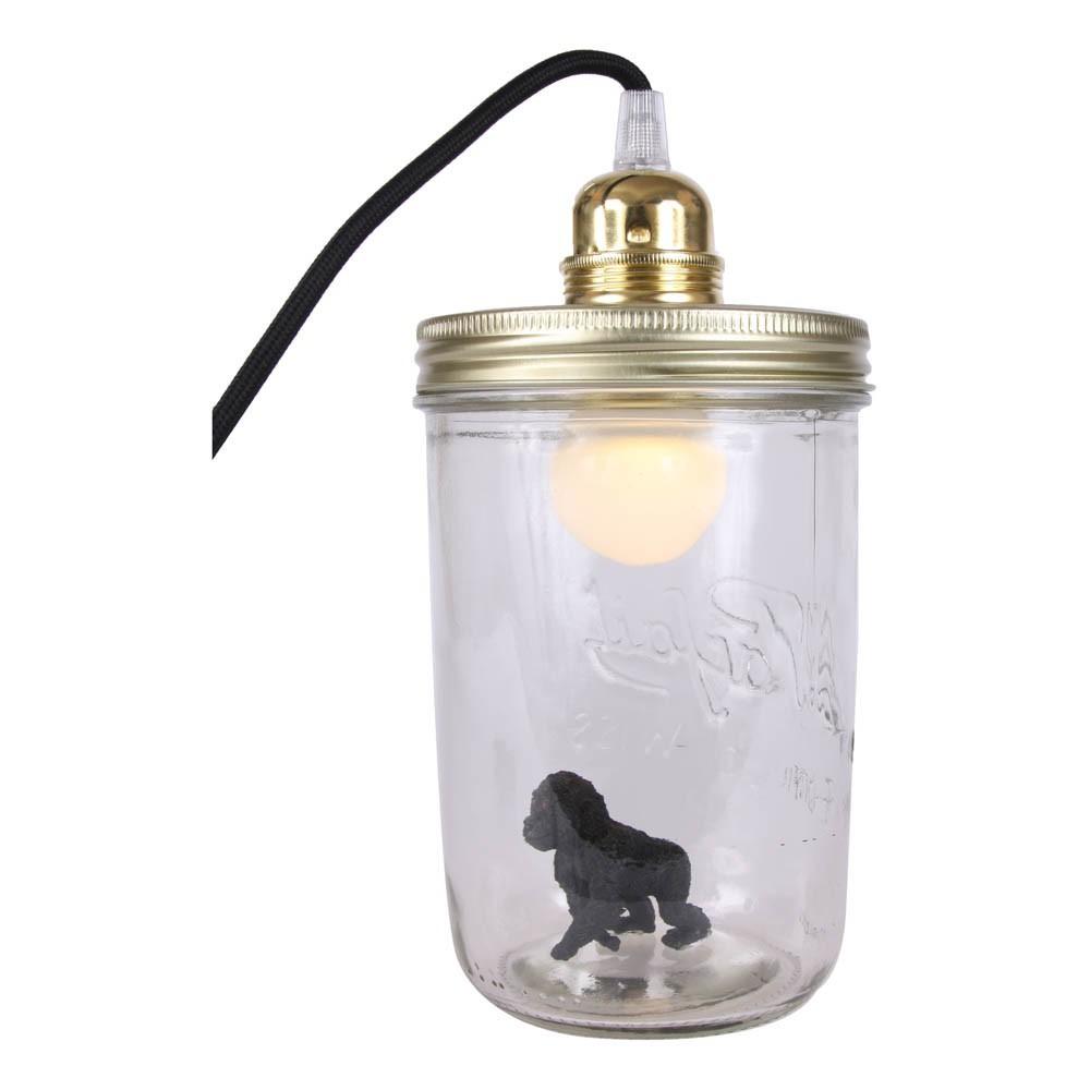 Lampe bocal poser king kong noir la t te dans le bocal - Lampe bocal le parfait ...