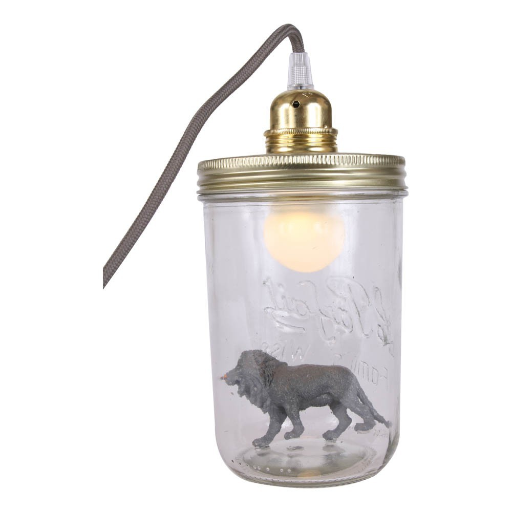 lampe bocal poser lion gris anthracite la t te dans le bocal. Black Bedroom Furniture Sets. Home Design Ideas