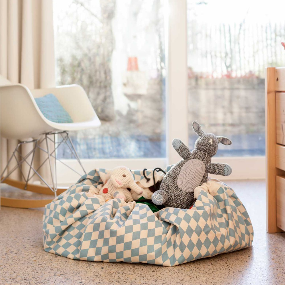 spielzeugsack und decke rauten blau play and go spiele und. Black Bedroom Furniture Sets. Home Design Ideas