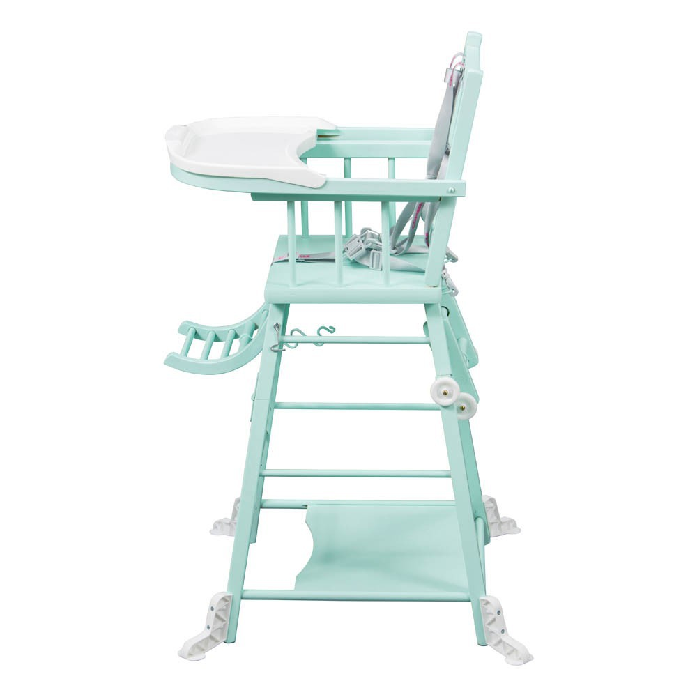 Chaise haute transformable laqu vert amande combelle design for Chaise haute combelle transformable