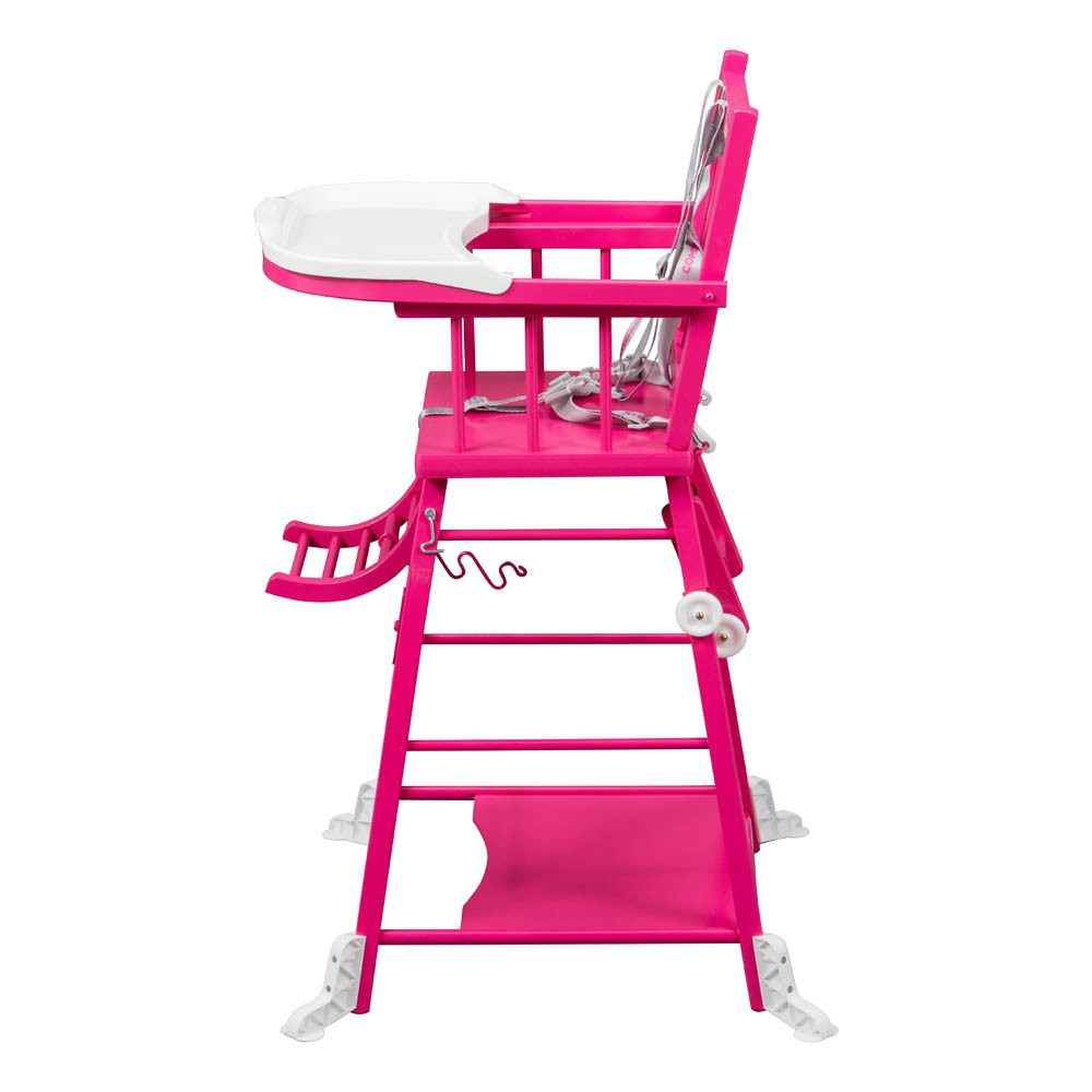 Chaise haute transformable laqu fuschia combelle design for Chaise haute combelle transformable