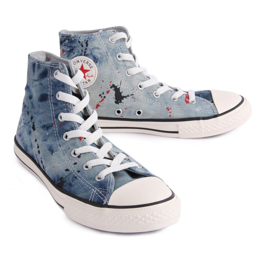 baskets montantes denim peinture chuck taylor bleu jean converse. Black Bedroom Furniture Sets. Home Design Ideas