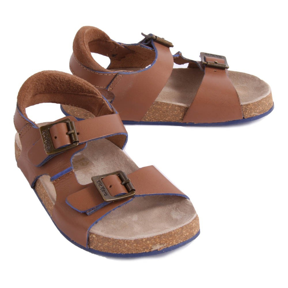 sandales cuir double boucle nanti camel kickers chaussure. Black Bedroom Furniture Sets. Home Design Ideas