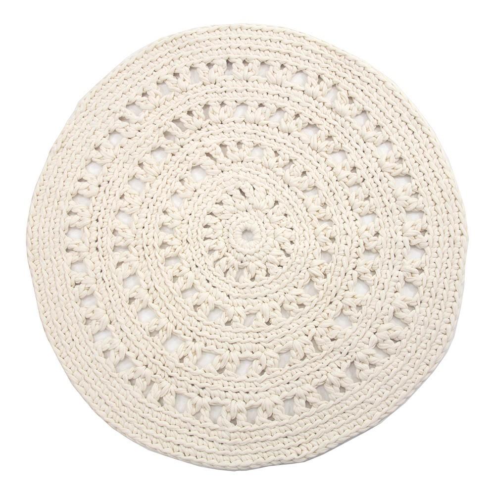 Alfombra redonda crochet crudo naco design infantil for Alfombra redonda gris