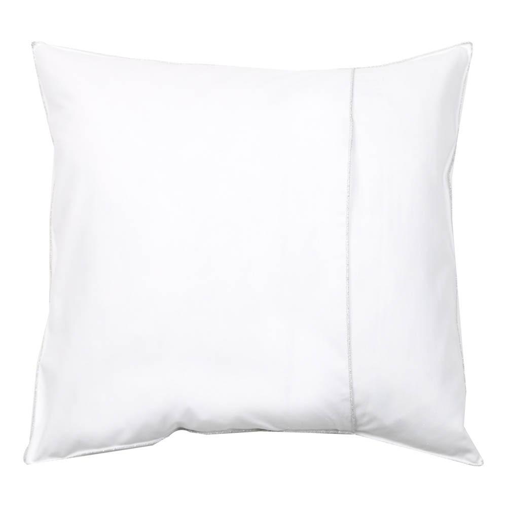 coussin en coton garni plumes ganse lurex argent blanc. Black Bedroom Furniture Sets. Home Design Ideas