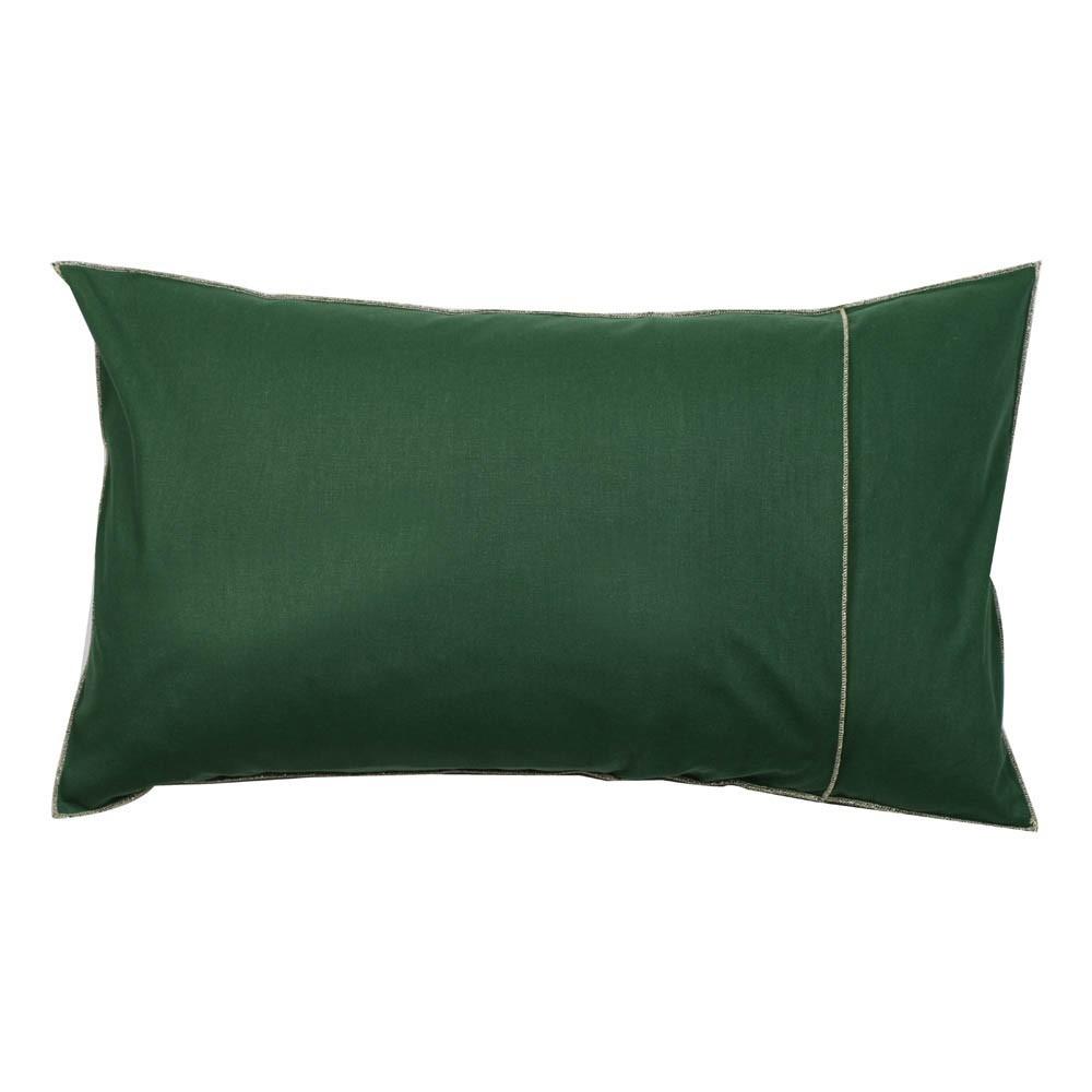 coussin en coton garni plumes ganse lurex argent vert fonc. Black Bedroom Furniture Sets. Home Design Ideas