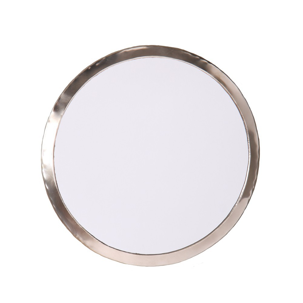 Round nickel silver mirror natural smallable home design adult for Miroir design rond