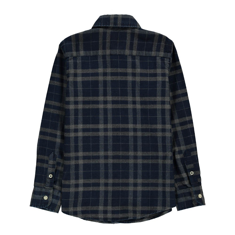 Checked plaid paul shirt navy blue hartford fashion teen for Navy blue plaid shirt
