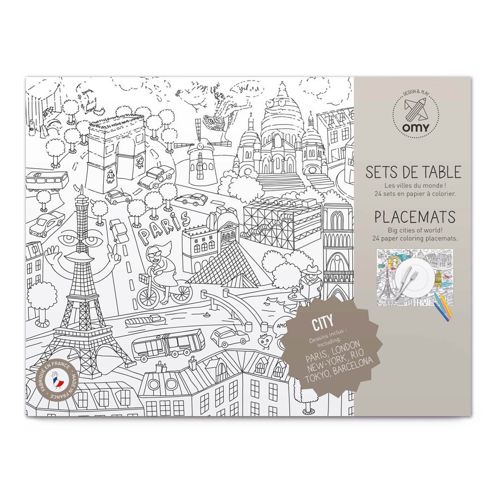 Set de table colorier city 2 blanc omy jouet et loisir - Set de table intisse ...
