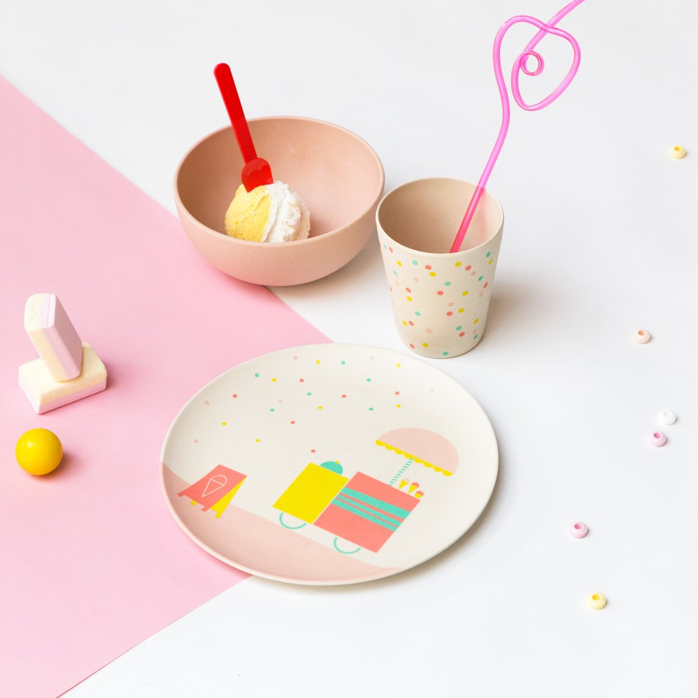 set vaisselle glace en bambou multicolore engel design b b. Black Bedroom Furniture Sets. Home Design Ideas