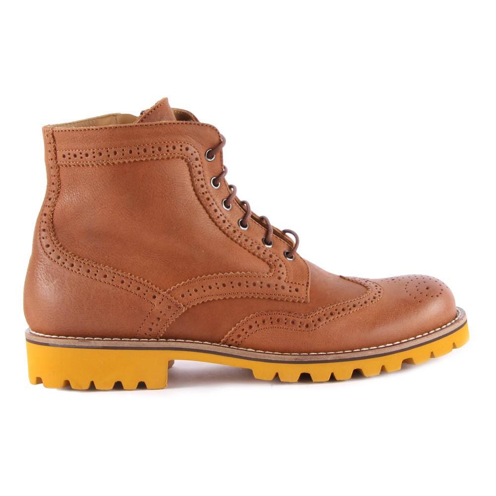 boots lacets cuir zipp es semelle jaune marron gallucci. Black Bedroom Furniture Sets. Home Design Ideas