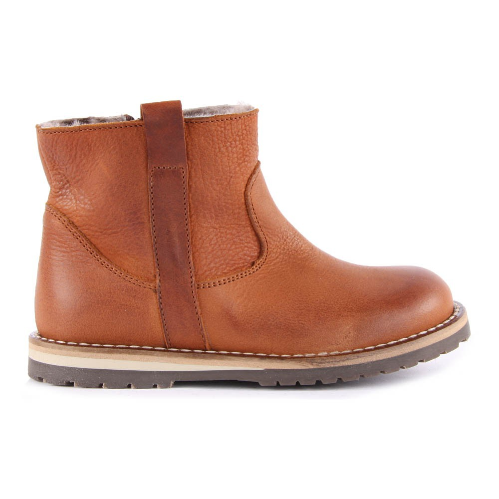 sheepskin lined leather zip up boots camel gallucci shoes