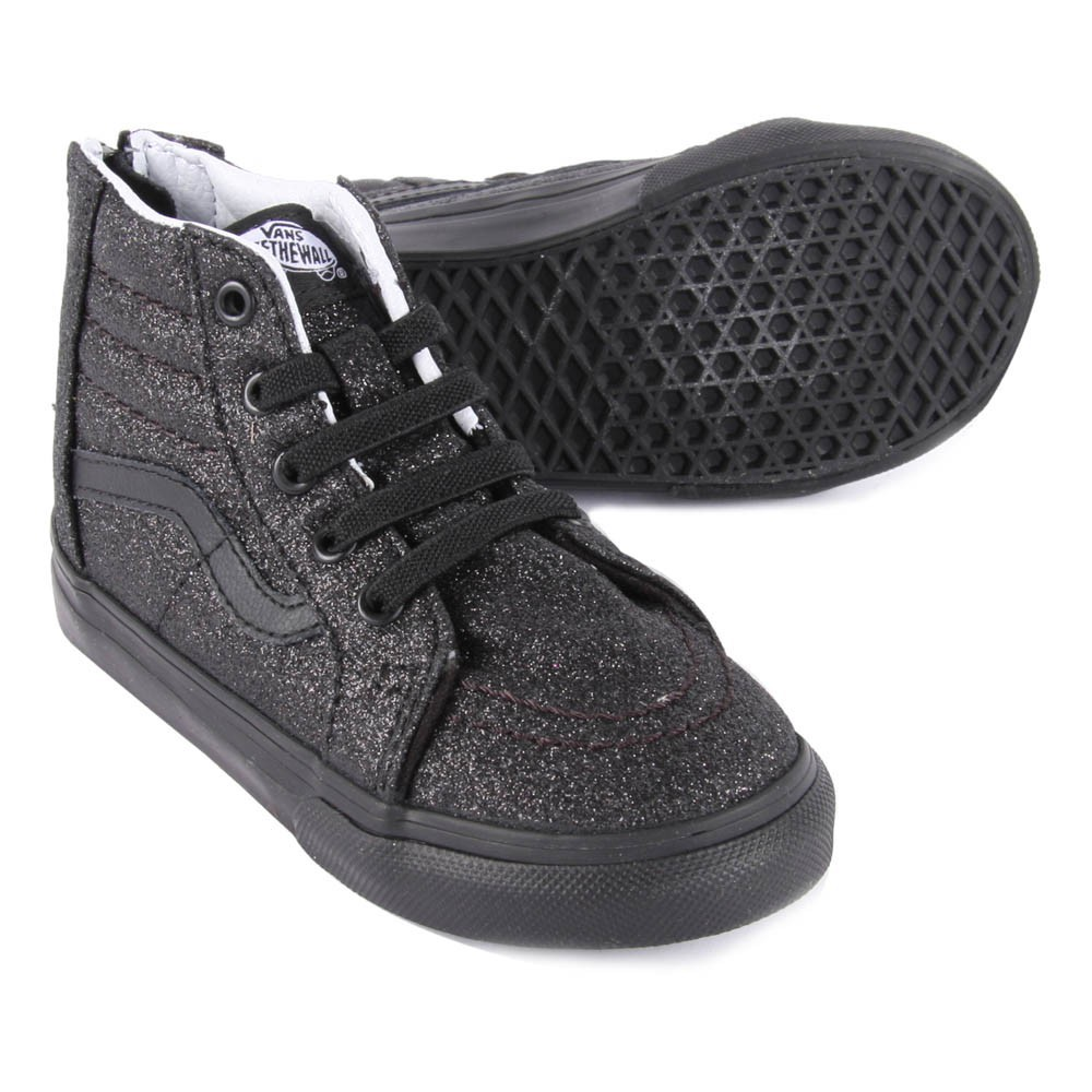 baskets lacets elastiques paillettes sk8 hi zip noir vans. Black Bedroom Furniture Sets. Home Design Ideas