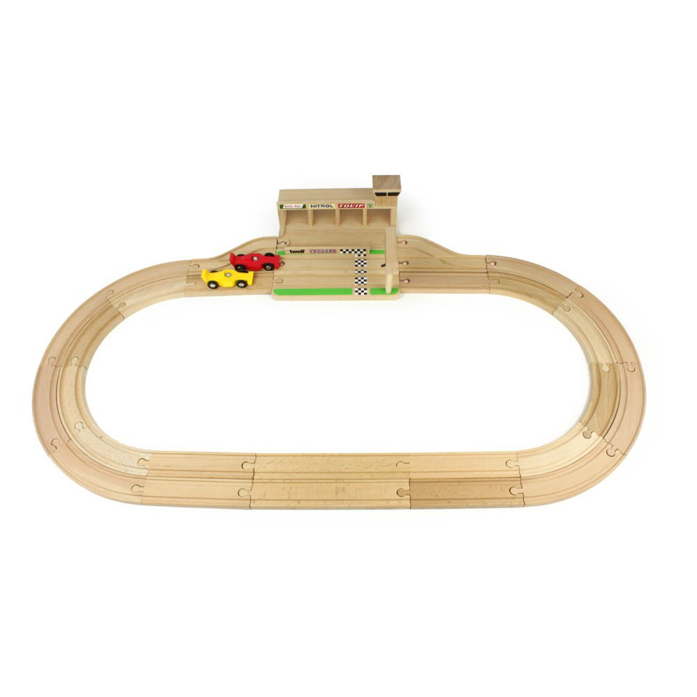 circuit de course en bois et voitures naturel ikonic toys jouet. Black Bedroom Furniture Sets. Home Design Ideas