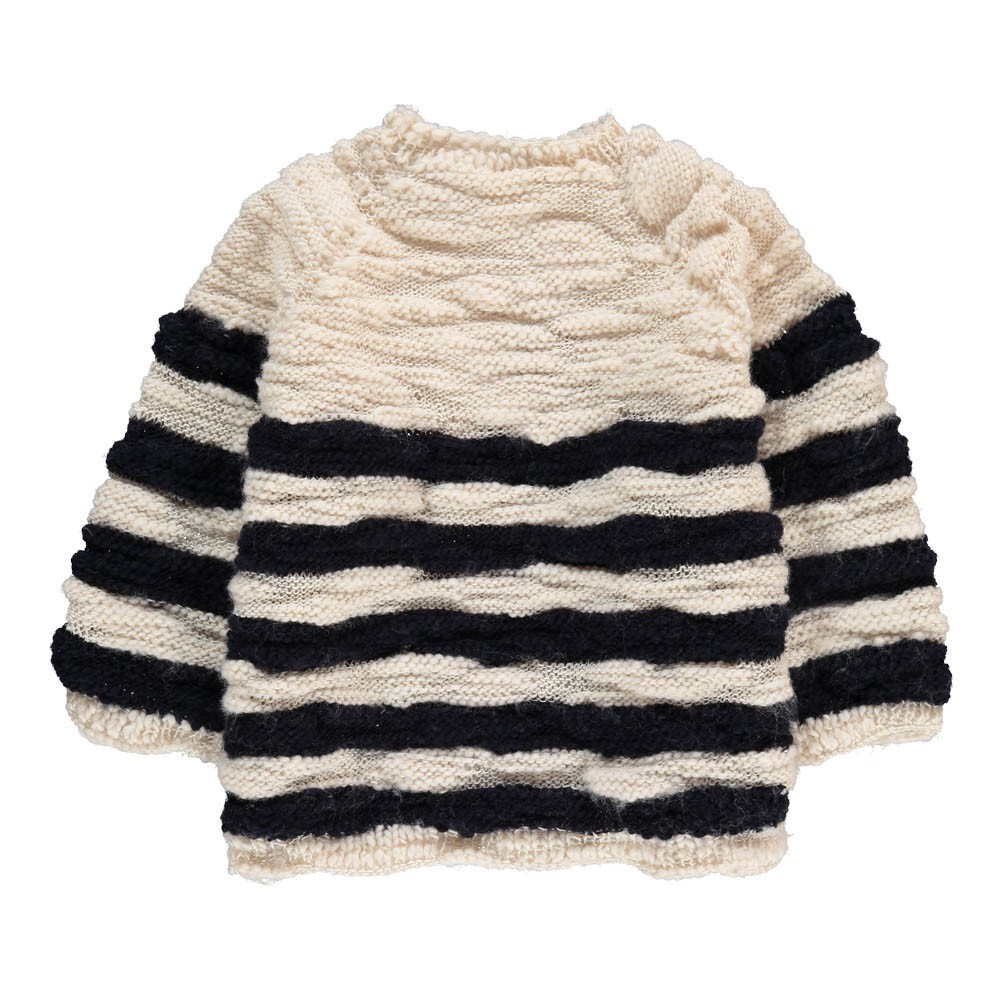 Striped Large Knit Jumper Ivory Mademoiselle a SOHO Fashion Baby