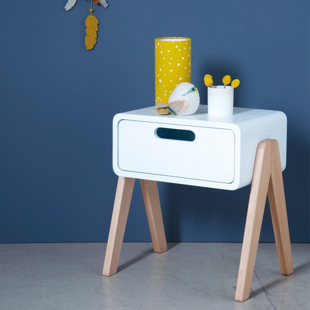 Table de chevet petit robot pieds bois naturel gris clair - Table de chevet bois clair ...
