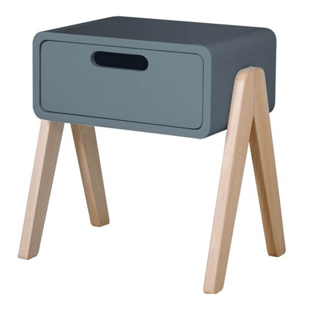Table de chevet petit robot pieds bois naturel gris souris for Mini table de chevet