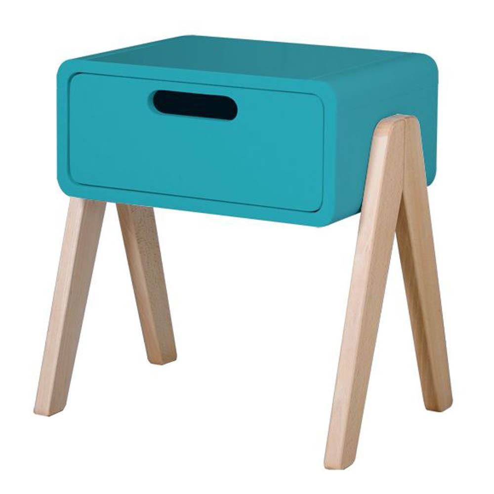 Table de chevet petit robot pieds bois naturel bleu turquoise - Table de chevet bleu ...