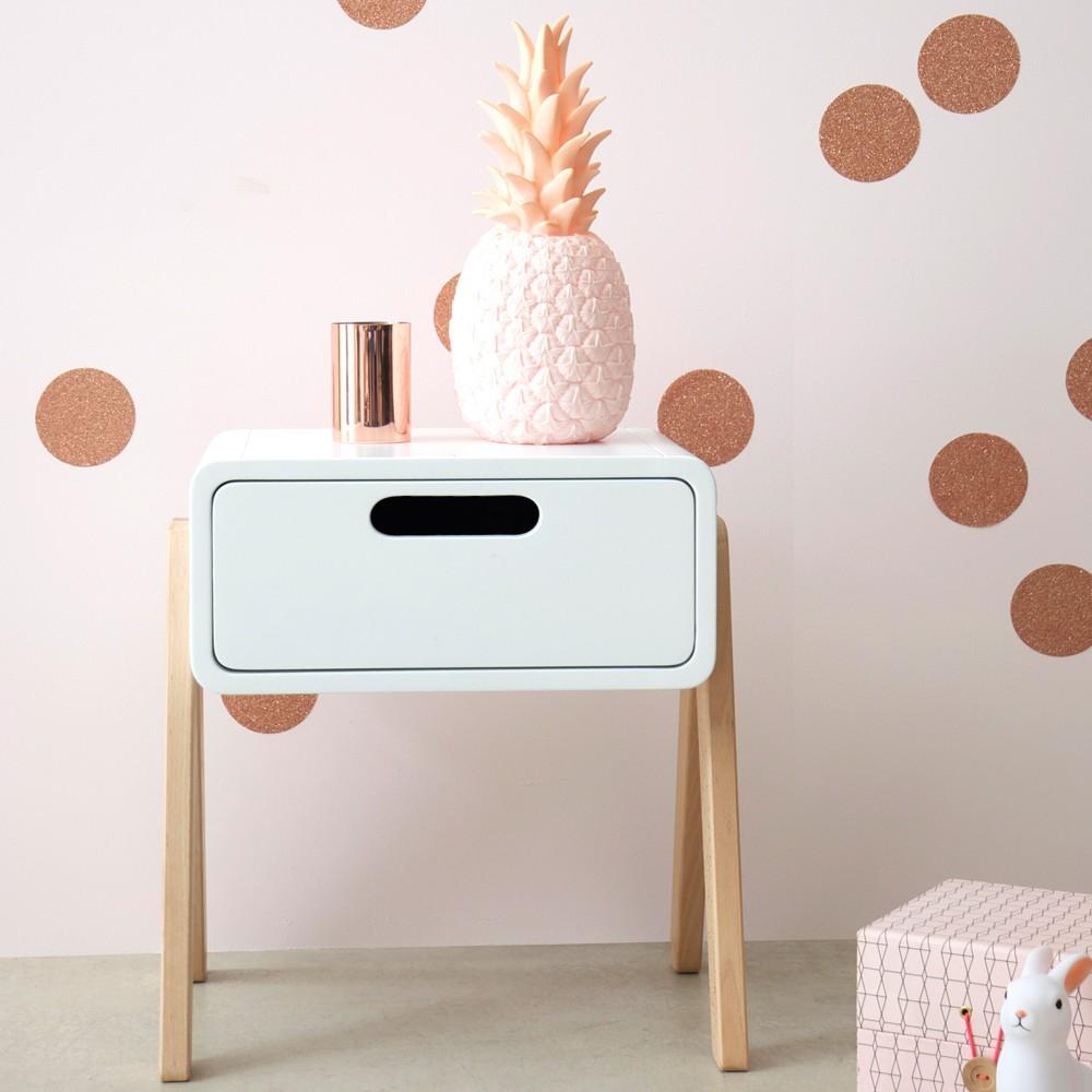table de chevet petit robot pieds bois naturel vieux rose. Black Bedroom Furniture Sets. Home Design Ideas