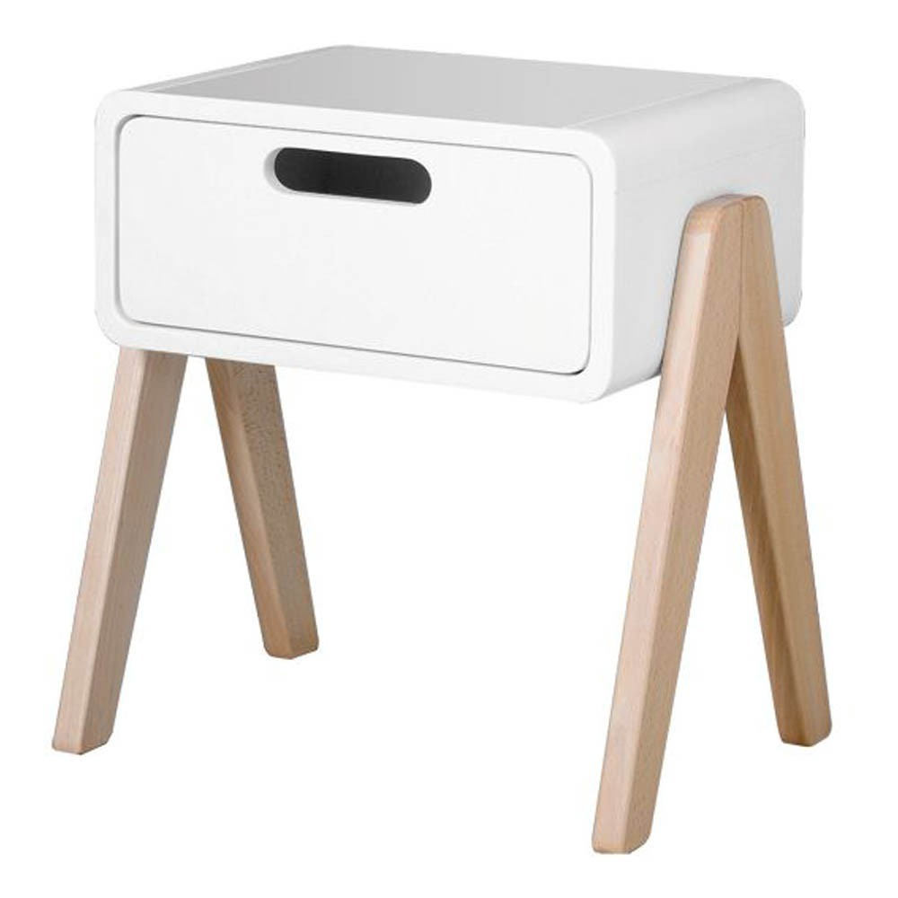 table de chevet petit robot pieds bois naturel blanc laurette. Black Bedroom Furniture Sets. Home Design Ideas