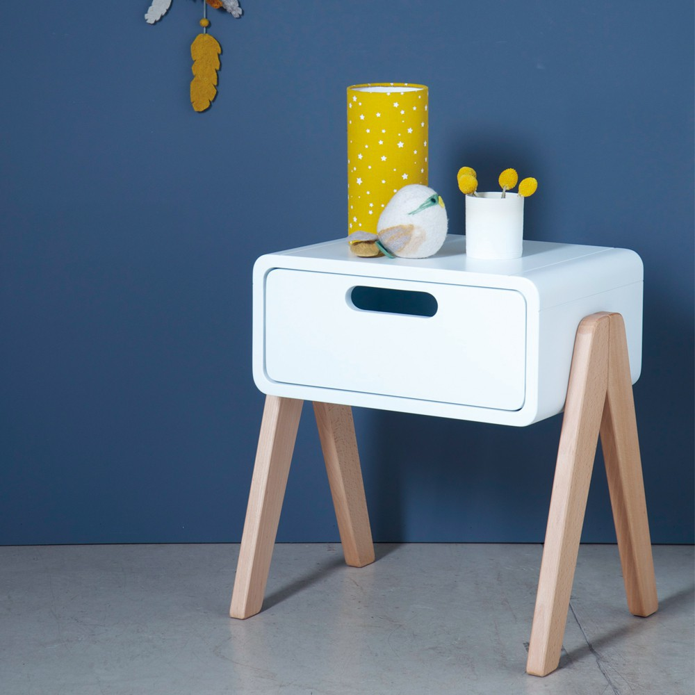Table de chevet petit robot pieds bois naturel blanc laurette for Table de chevet bois blanc