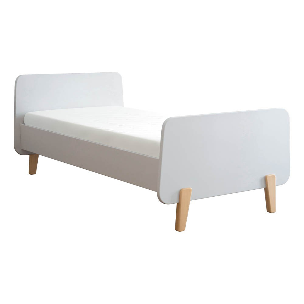 lit mm pieds bois naturel blanc laurette design enfant. Black Bedroom Furniture Sets. Home Design Ideas