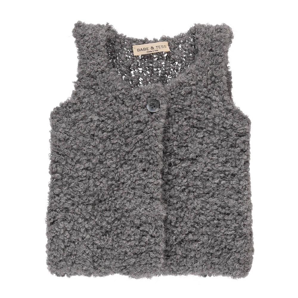 gilet laine alpaga gris babe tess mode b b. Black Bedroom Furniture Sets. Home Design Ideas