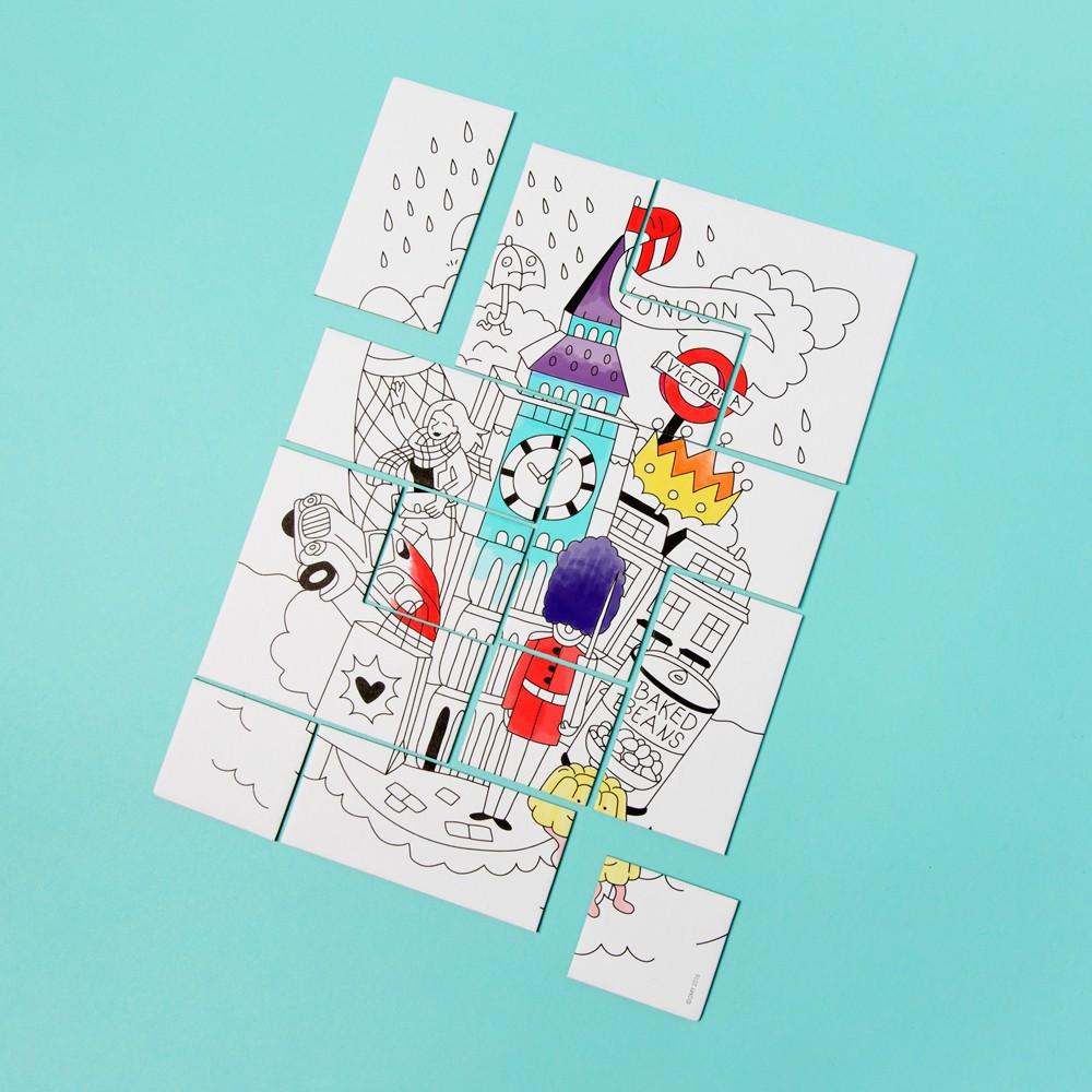 Puzzle colorier londres blanc omy jouet et loisir for Puzzle a colorier