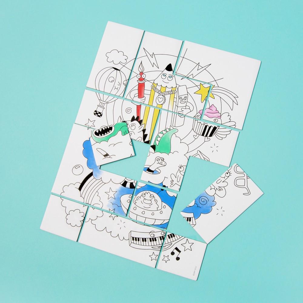 Puzzle colorier fantastic blanc omy jouet et loisir for Puzzle a colorier